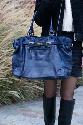 Classic Navy Sophia Vintage Leather Handbag - Jijou Capri