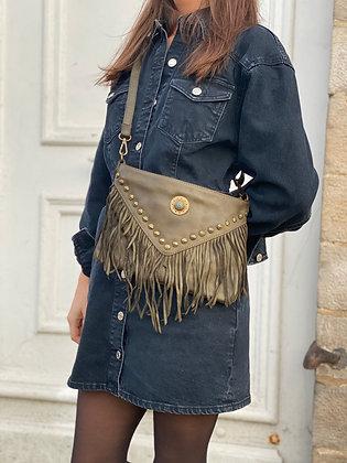 Olive Idaho vintage Leather Crossbody Bag - Jijou Capri