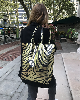 Big Zebra Gold Tote Bag- Jijou Capri