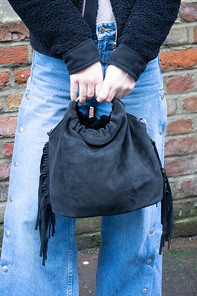 Black Terry Suede Fringes Leather Handbag - Jijou Capri