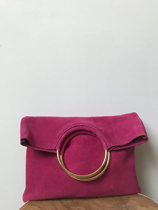 Twiggy Fuchsia Suede Leather Handbag - Jijou Capri