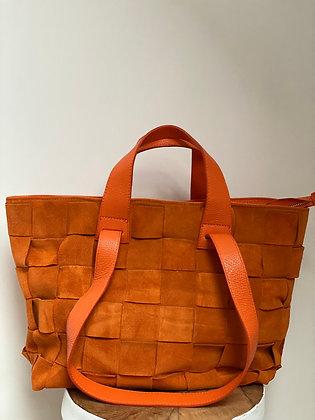 Orange Becky Damier suede Leather Handbag - Jijou Capri