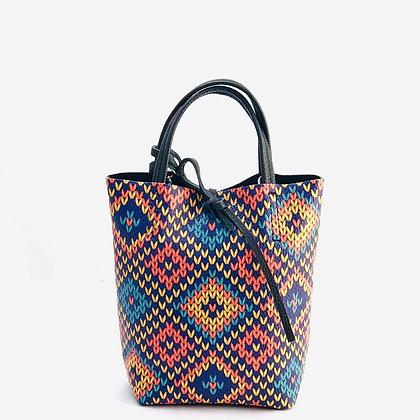 Mini Basic Mosaic Black Leather Tote Bag - Jijou Capri