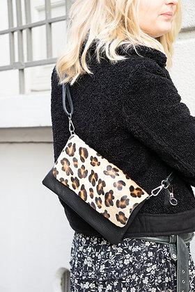 Leopard Sally Patta Pony Leather Clutch - Jijou Capri