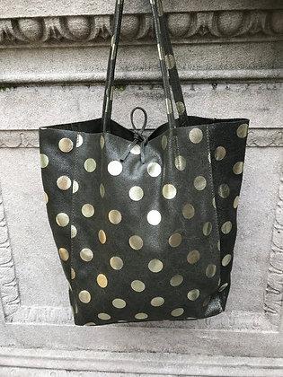 Big Golden Dots Olive Tote Bag - Jijou Capri