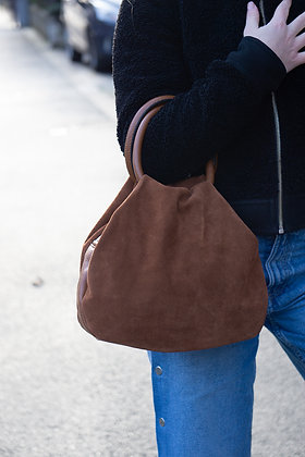 Brown Nuvola Suede Leather Handbag - Jijou Capri