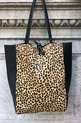 Leather Half Pony Mini Cheetah Tote Bag - Jijou Capri