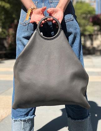Montreal Total Leather Tote Bag Grey - Jijou Capri