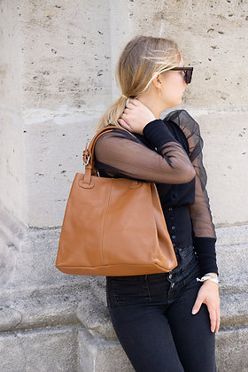 Quatro side camel Leather Handbag - Jijou Capri