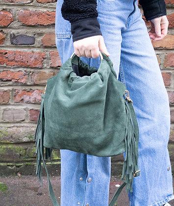 Forest Green Terry Suede Fringes Leather Handbag - Jijou Capri