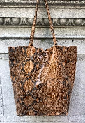 Brown Snake Print Tote Bag - Jijou Capri