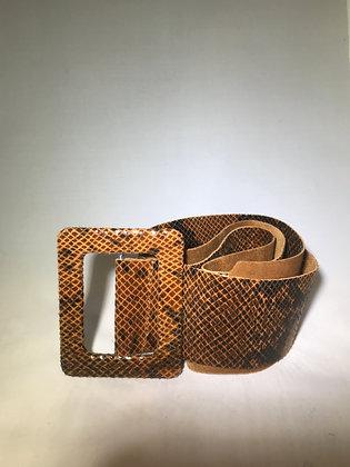Vogue Python Leather Belt Brown - Jijou Capri