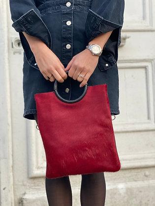 Red Twiggy Pony Leather Handbag - Jijou Capri