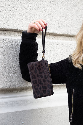 Dark Brown Ziplet Pony Leather Wallet - Jijou Capri