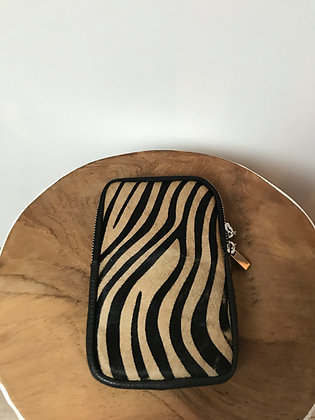 Cellphone Brown Zebra Pony Leather Wallet - Jijou Capri