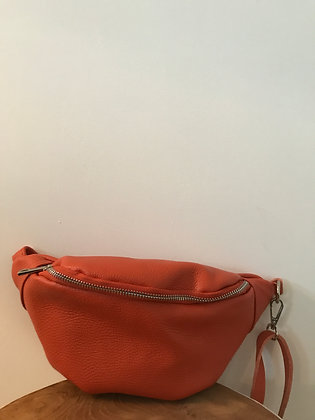 Fanny Pack Orange Grained Leather - Jijou Capri
