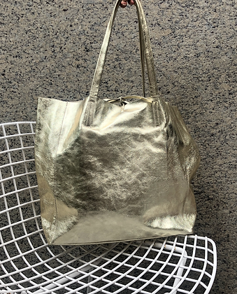 Maxi Metallic Gold Leather Tote - Jijou Capri