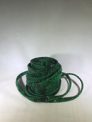 Kimono Leather Printed Snake Belt Green 35 - Jijou Capri