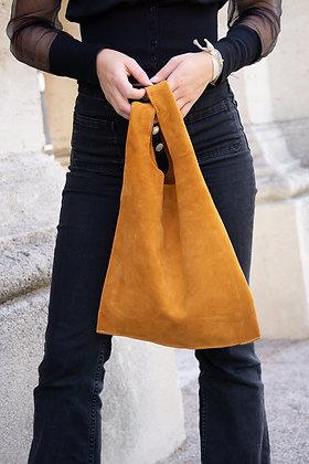 Orange Tokyo suede leather handbag- Jijou Capri