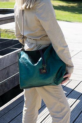Charlie green Metallic Leather Tote Bag - Jijou Capri