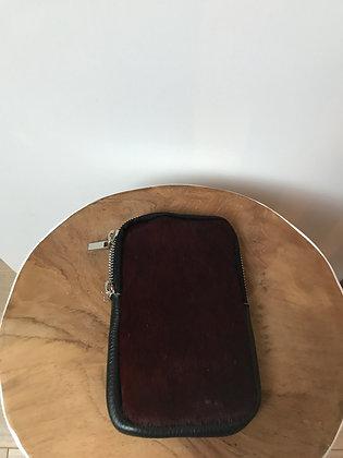 Cellphone Wine Pony Leather Wallet - Jijou Capri