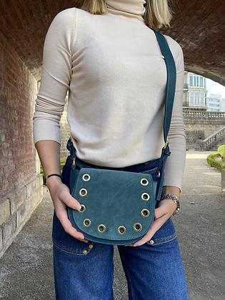 Basilea Turquoise suede leather Crossbody Bag - Jijou Capri