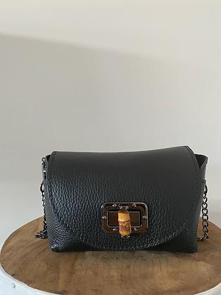 Lily Bamboo Black Leather Crossbody bag - Jijou Capri