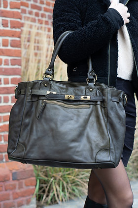 Classic Olive Sophia Vintage Leather Handbag - Jijou Capri