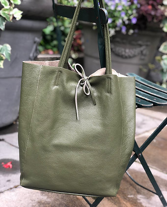 Olive Leather Tote Bag - Jijou Capri