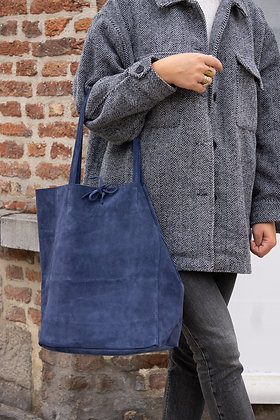 Midnight Blue Suede Leather Tote Bag - Jijou Capri