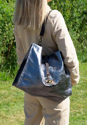 Charlie Silver Metallic Leather Tote Bag - Jijou Capri