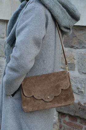 Suzie Taupe Suede Leather Crossbody Bag - Jijou Capri