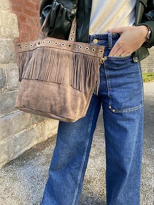 Taupe Shopper Suede Fringes Leather Handbag - Jijou Capri