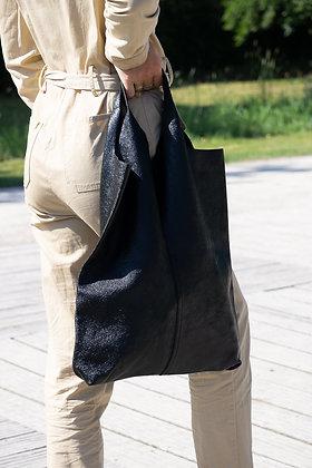 Middle Cut Metallic Black Leather Tote Bag - Jijou Capri