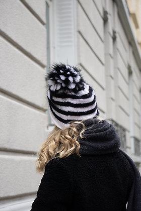 Striped Beanie JJ81 White & Black - Jijou Capri