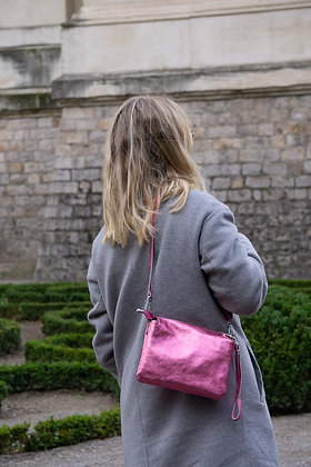 Elvira Pink Metallic Leather Crossbody bag - Jijou Capri
