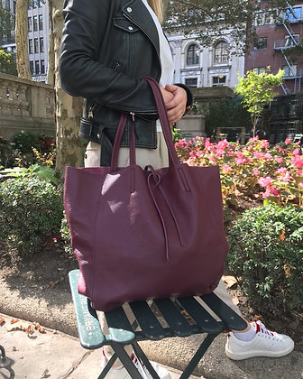 Wine Maxi Leather Tote Bag - Jijou Capri