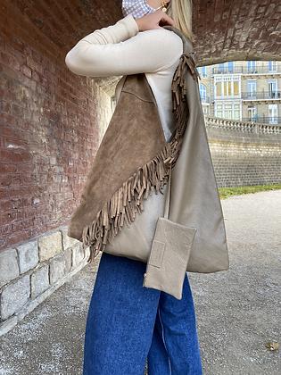 Gisele Taupe boho Fringes Leather Tote bag - Jijou Capri