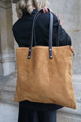 Camel Oria Studs Leather Tote Bag - Jijou Capri