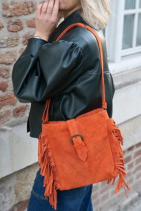Jill Orange Suede Leather Crossbody Bag - Jijou Capri