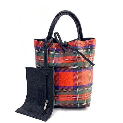 Mini Basic Plaid Red Leather Tote Bag - Jijou Capri