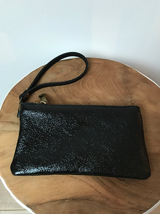 Black Ziplet Metallic Leather Wallet - Jijou Capri