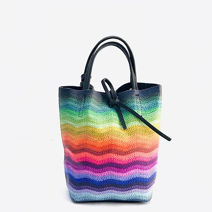Mini Basic waves rainbow Leather Tote Bag - Jijou Capri