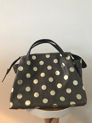 Jasmine Dots Grey Leather Handbag - Jijou Capri
