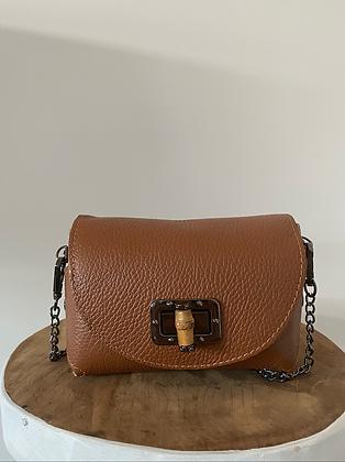 Lily Bamboo Brown Leather Crossbody bag - Jijou Capri