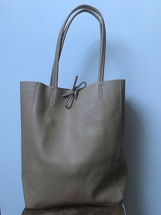 Cream Grained Leather Tote Bag - Jijou Capri
