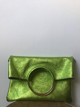Twiggy Green Metallic Leather Handbag - Jijou Capri