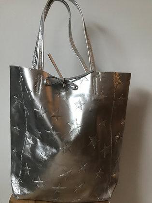 Silver Big Stars Tote Bag - Jijou Capri