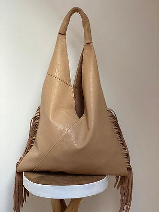 Gisele Cream Fringes Leather Tote bag - Jijou Capri