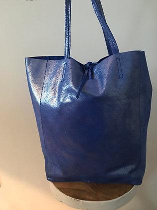 Blue Glitter Leather Tote Bag - Jijou Capri